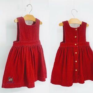 VINTAGE | RALPH LAUREN | ruby corduroy apron dress